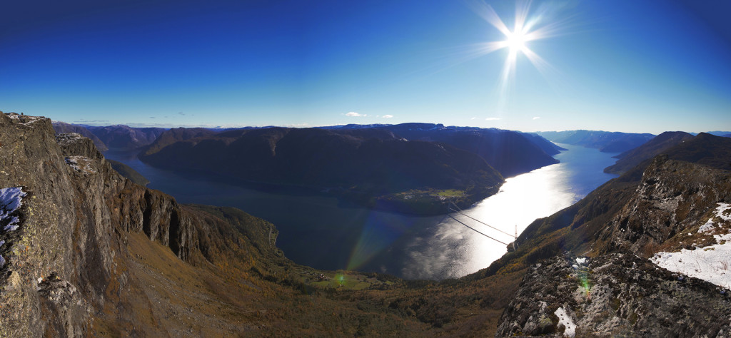 Panorama picture, taken from the top of Midtfjell, in Hardanger, Norway - at 1255 meters.